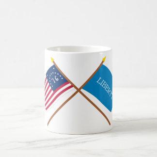 Crossed Bennington and Schenectady Liberty Flags Basic White Mug