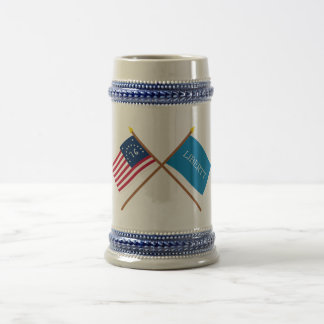 Crossed Bennington and Schenectady Liberty Flags Beer Steins