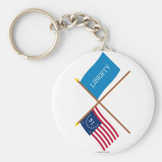 Crossed Bennington and Schenectady Liberty Flags Keychain
