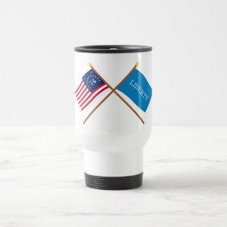 Crossed Bennington and Schenectady Liberty Flags Travel Mug