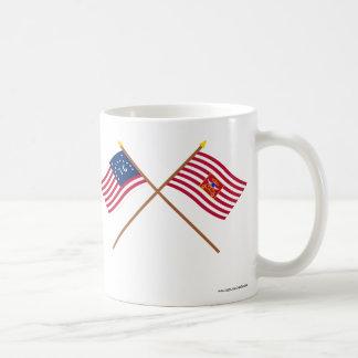 Crossed Bennington and Sheldon's Horse Flags Basic White Mug