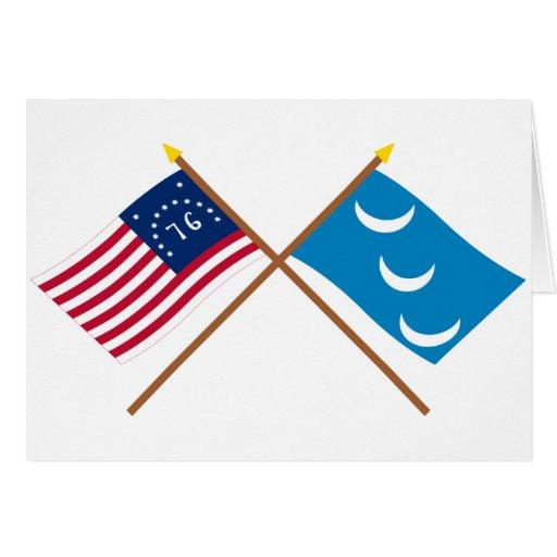 Crossed Bennington and South Carolina Militia Flag Greeting Cards