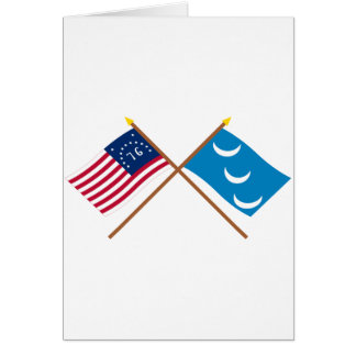 Crossed Bennington and South Carolina Militia Flag Greeting Card
