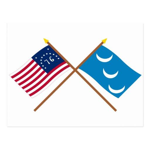 Crossed Bennington and South Carolina Militia Flag Post Card