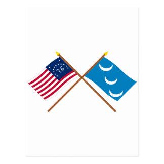 Crossed Bennington and South Carolina Militia Flag Postcard