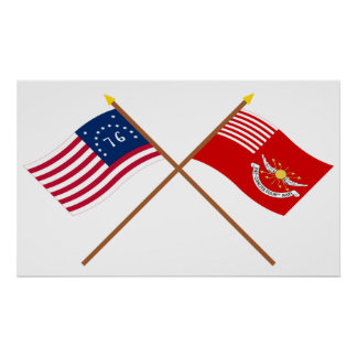 Crossed Bennington and Tallmadge s Dragoons Flags Poster