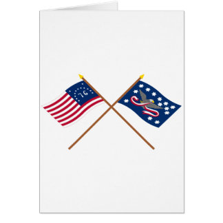 Crossed Bennington and Whiskey Rebellion Flags Greeting Card
