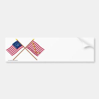 Crossed Bennington Flag and Navy Jack Bumper Stickers