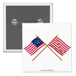 Crossed Bennington Flag and Navy Jack Buttons