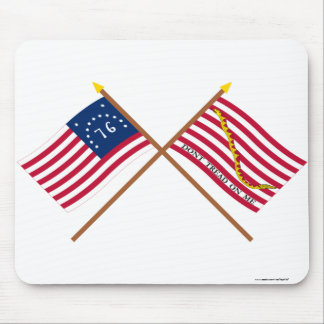 Crossed Bennington Flag and Navy Jack Mousepads