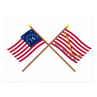 Crossed Bennington Flag and Navy Jack Postcard