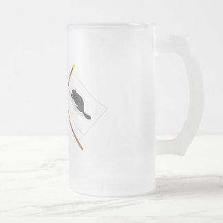 Crossed Bennington Flag and New York Ensign Frosted Glass Beer Mug