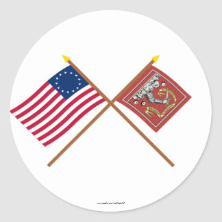 Crossed Betsy Ross and Bedford Flags Classic Round Sticker