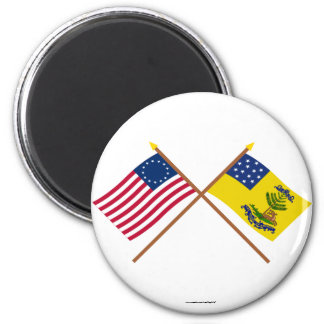 Crossed Betsy Ross and Bucks of America Flags Magnets
