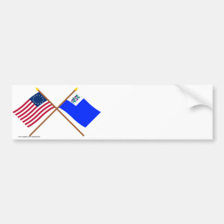 Crossed Betsy Ross and Connecticut Privateer Flags Bumper Sticker
