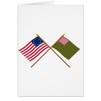 Crossed Betsy Ross and Delaware Militia Flags Greeting Card