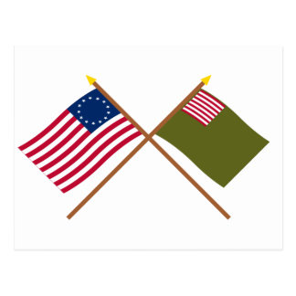 Crossed Betsy Ross and Delaware Militia Flags Postcard