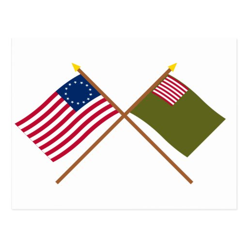 Crossed Betsy Ross and Delaware Militia Flags Post Card
