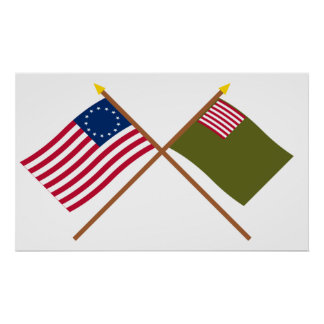 Crossed Betsy Ross and Delaware Militia Flags Poster