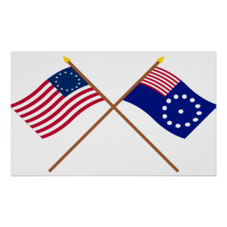 Crossed Betsy Ross and Easton Flags Poster