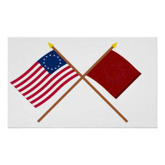 Crossed Betsy Ross and Eutaw Flags Poster
