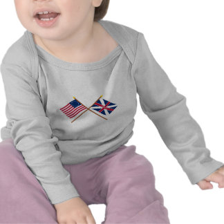 Crossed Betsy Ross and Fort Johnson Flags T Shirt