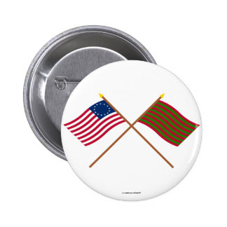 Crossed Betsy Ross and Ft Sackville Flags 6 Cm Round Badge
