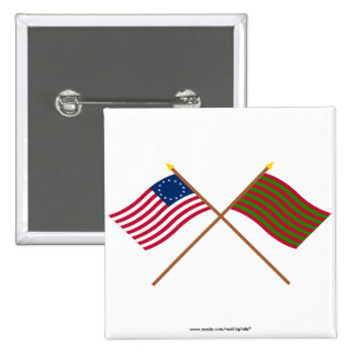 Crossed Betsy Ross and Ft Sackville Flags Pinback Buttons
