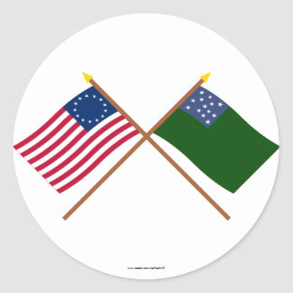 Crossed Betsy Ross and Green Mountain Boys Flags Classic Round Sticker