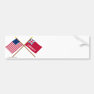 Crossed Betsy Ross and Liberty Flags Bumper Sticker
