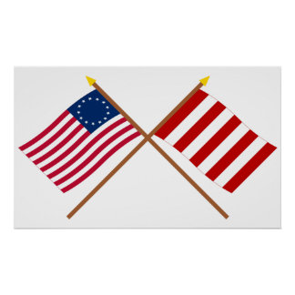 Crossed Betsy Ross and Liberty Tree Flags Poster