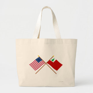 Crossed Betsy Ross and New England Flags Tote Bag