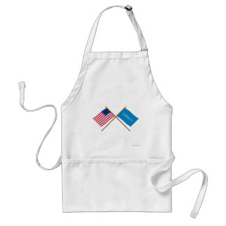 Crossed Betsy Ross and Schenectady Liberty Flags Aprons