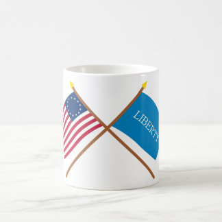 Crossed Betsy Ross and Schenectady Liberty Flags Basic White Mug