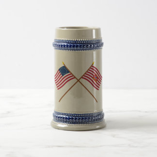 Crossed Betsy Ross and Sheldon's Horse Flags Beer Steins