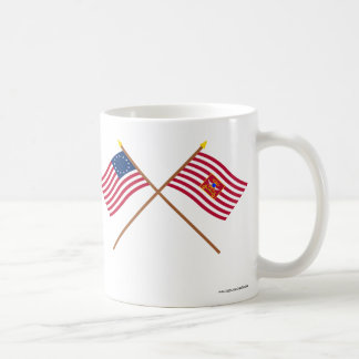 Crossed Betsy Ross and Sheldon's Horse Flags Mugs