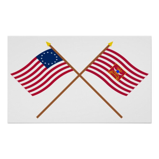 Crossed Betsy Ross and Sheldon's Horse Flags Poster