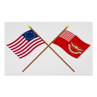 Crossed Betsy Ross and Tallmadge s Dragoons Flags Poster