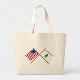 Crossed Betsy Ross and Washington's Cruisers Flags Canvas Bag
