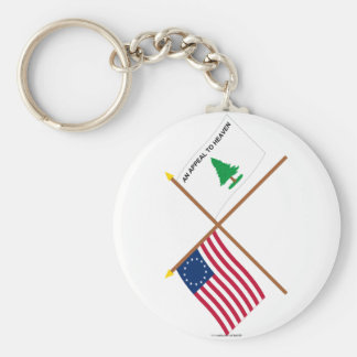 Crossed Betsy Ross and Washington's Cruisers Flags Basic Round Button Key Ring