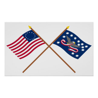 Crossed Betsy Ross and Whiskey Rebellion Flags Poster
