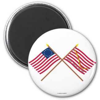 Crossed Betsy Ross Flag and First Navy Jack 6 Cm Round Magnet