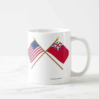 Crossed Betsy Ross Flag and Pine Tree Red Ensign Coffee Mug