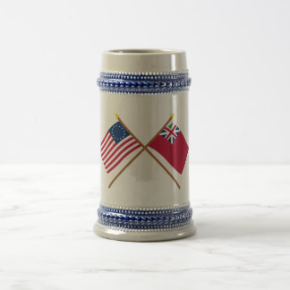 Crossed Betsy Ross Flag and Pine Tree Red Ensign Mugs