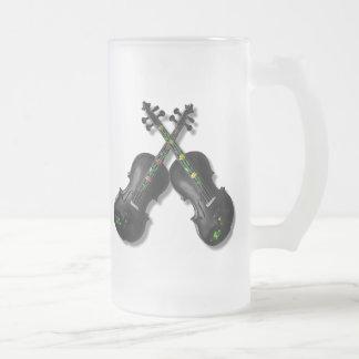 CROSSED BLACK VIOLINS-MUG FROSTED GLASS MUG