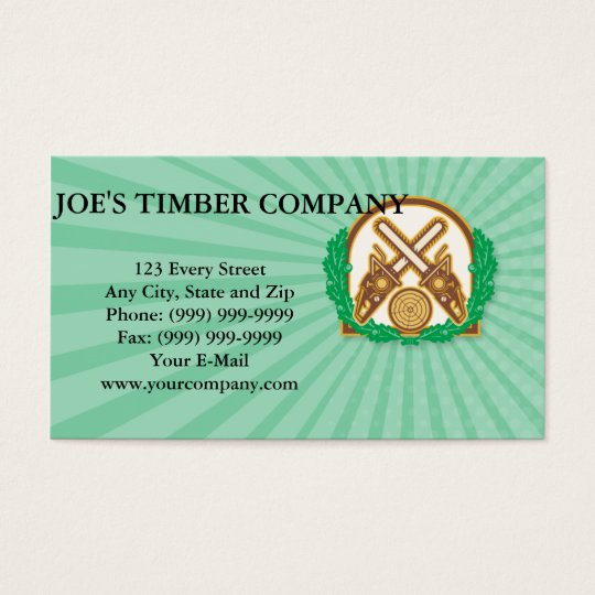 Crossed Chainsaw Timber Wood Leaf Business Card