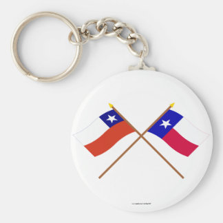Crossed Chile and Texas Flags Keychain
