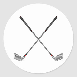 Crossed Clubs Classic Round Sticker