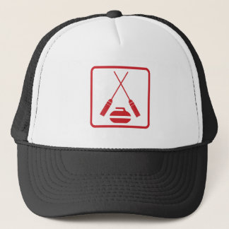 Crossed curling brooms truckers cap