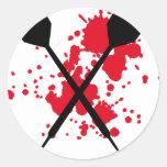 crossed darts icon classic round sticker